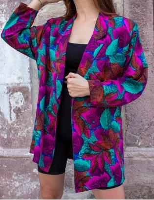 Vintage 80ler Renkli Blazer