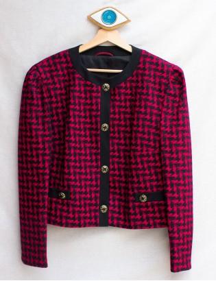 Vintage 80ler Kazayağı Yün Ceket