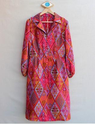Vintage 70ler Etnik Desenli Elbise