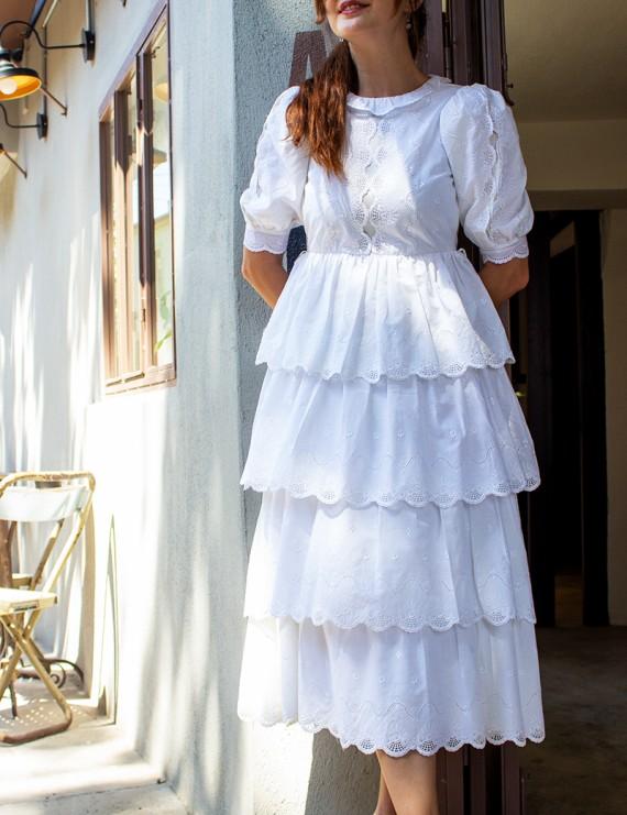 Vintage Beyaz Romantik Elbise