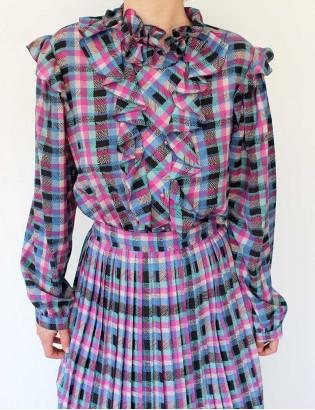 Vintage 70ler Ekoseli Elbise