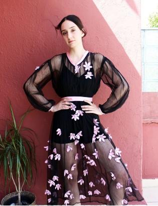 Vintage 70ler 3 Boyutlu Çiçekli Tül Elbise