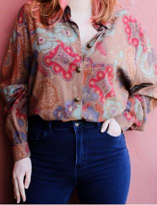 Vintage 70ler Etnik Desenli Gömlek
