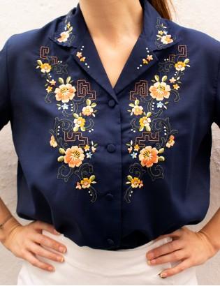 Vintage Çiçek Nakışlı Gömlek
