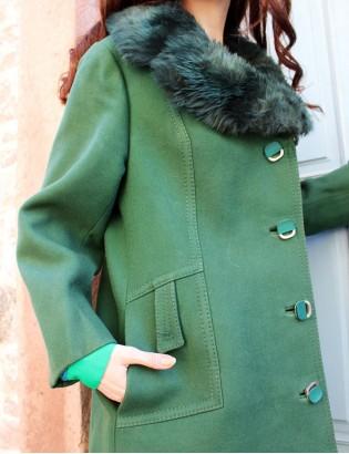 Vintage 70ler Yakası Kürklü Yün Palto