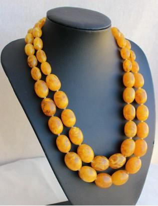 Vintage Ebruli Sarı Çift Sıra Boncuk Kolye