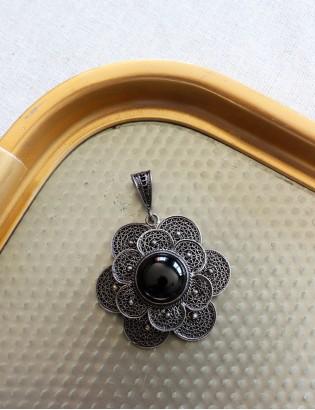Vintage Gümüş ve Siyah Oniks Kolye ucu