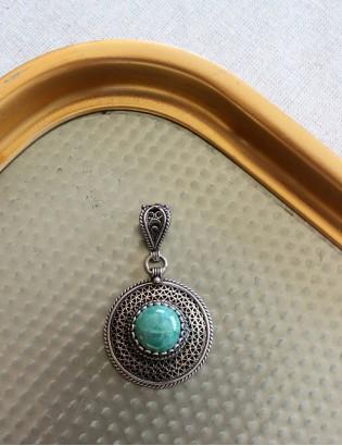 Vintage Firuze Taşlı Gümüş Kolye Ucu
