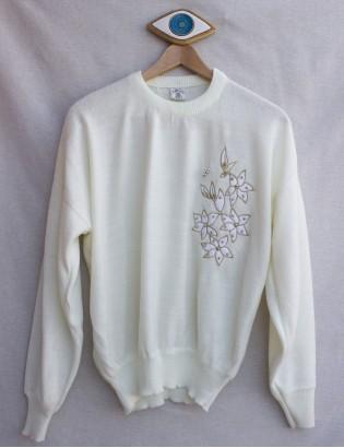 Vintage Çiçek Nakışlı Beyaz Triko Kazak