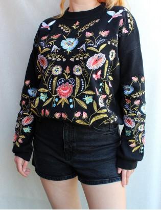 Vintage Nakışlı Sweatshirt